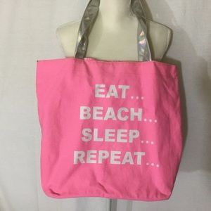 Handbags - Pink Canvas Beach Tote